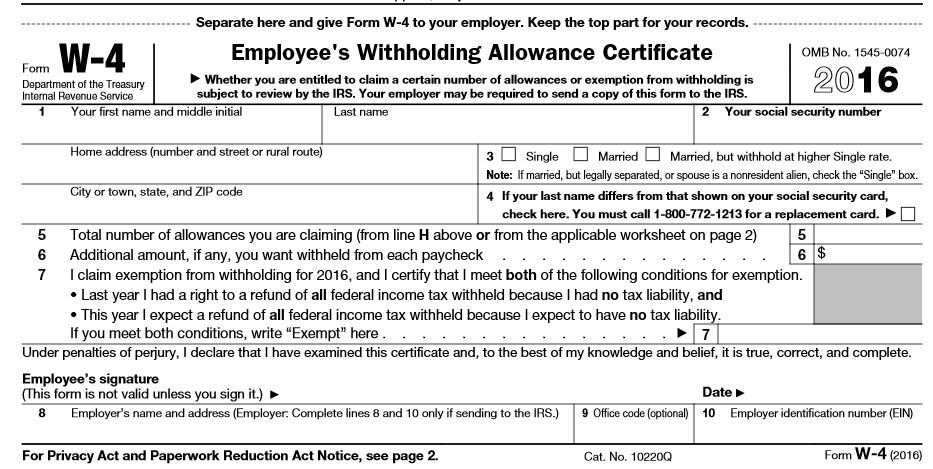 2016 form W-4 face only